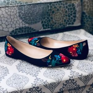 Nine West SpeakUp Floral Embroidered Pointed Flats